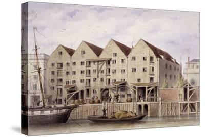 View of Chamberlain's Wharf, Tooley Street, Bermondsey, London, 1846-Thomas Hosmer Shepherd-Stretched Canvas Print