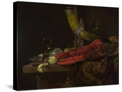 Still Life with the Drinking-Horn of the Saint Sebastian Archers' Guild, Lobster and Glasses-Willem Kalf-Stretched Canvas Print
