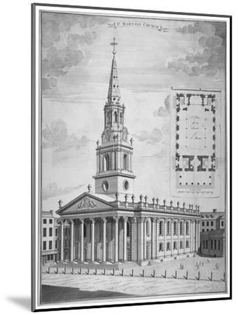 Church of St Martin-In-The-Fields, Westminster, London, C1730--Mounted Giclee Print