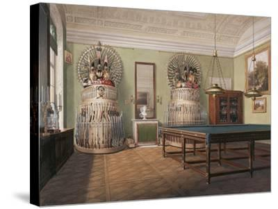 Interiors of the Winter Palace, the Billiard Room of Emperor Alexander II, Mid of the 19th C-Eduard Hau-Stretched Canvas Print