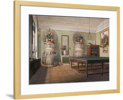Interiors of the Winter Palace, the Billiard Room of Emperor Alexander II, Mid of the 19th C-Eduard Hau-Framed Giclee Print