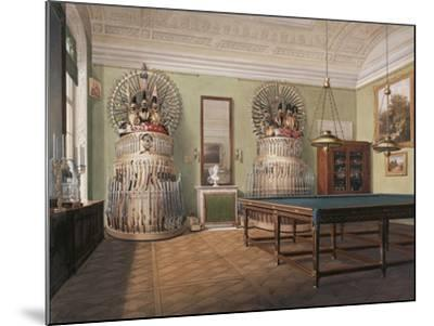Interiors of the Winter Palace, the Billiard Room of Emperor Alexander II, Mid of the 19th C-Eduard Hau-Mounted Giclee Print