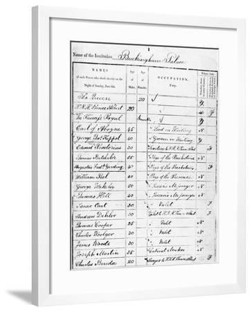 Page of Buckingham Palace Census Return for 1841--Framed Giclee Print