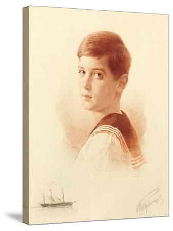 Portrait of the Successor to the Throne Tsarevich Alexei Nikolaevich of Russia, 1913-Mikhail Viktorovich Rundaltsov-Stretched Canvas Print