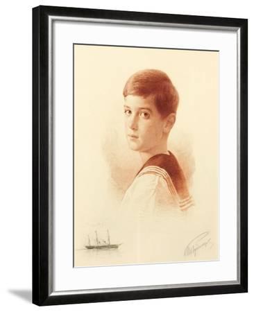 Portrait of the Successor to the Throne Tsarevich Alexei Nikolaevich of Russia, 1913-Mikhail Viktorovich Rundaltsov-Framed Giclee Print