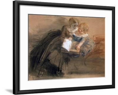Young Woman with a Child, Between 1844 and 1850-Adolph Friedrich von Menzel-Framed Giclee Print