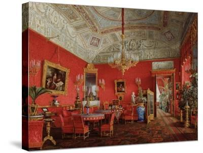 Interiors of the Winter Palace, the Large Drawing Room of Empress Alexandra Fyodorovna, 1858-Eduard Hau-Stretched Canvas Print