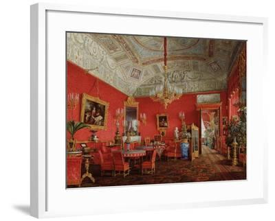 Interiors of the Winter Palace, the Large Drawing Room of Empress Alexandra Fyodorovna, 1858-Eduard Hau-Framed Giclee Print