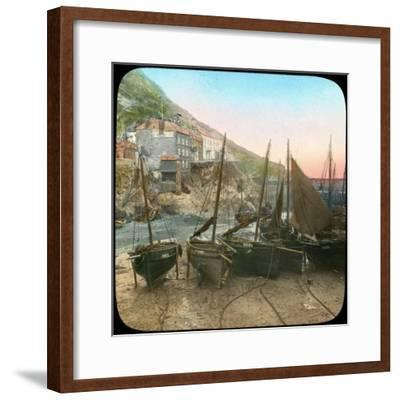 Fishing Fleet at Low Tide, Polperro, Cornwall, Late 19th or Early 20th Century--Framed Giclee Print