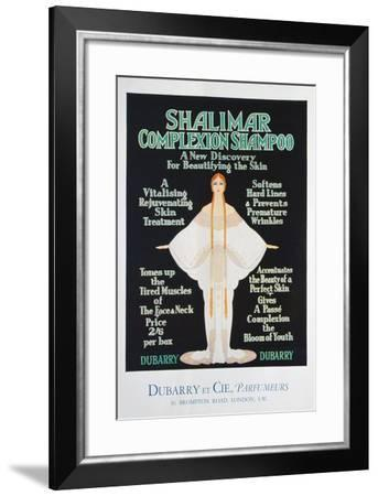 Advertisement for Shalimar Complexion Shampoo by Dubarry, 1930--Framed Giclee Print