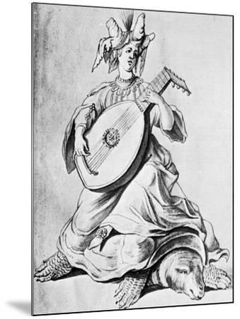 A Woman Playing a Stringed Instrument, Early 17th Century--Mounted Giclee Print