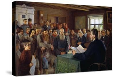 Sunday Message in a Village School, 1895-Nikolai Petrovich Bogdanov-Belsky-Stretched Canvas Print