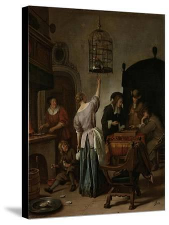 Interior with a Woman Feeding a Parrot Two Men Playing Backgammon and Other Figures, 1670-Jan Havicksz Steen-Stretched Canvas Print