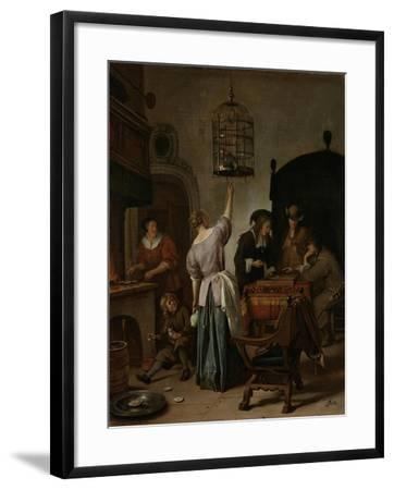 Interior with a Woman Feeding a Parrot Two Men Playing Backgammon and Other Figures, 1670-Jan Havicksz Steen-Framed Giclee Print