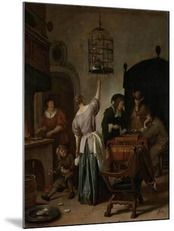 Interior with a Woman Feeding a Parrot Two Men Playing Backgammon and Other Figures, 1670-Jan Havicksz Steen-Mounted Giclee Print