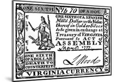 Virginia Paper Money, 1777--Mounted Giclee Print