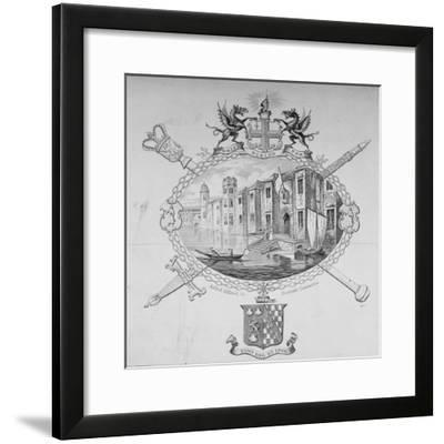 View of Barnard's Castle and Boats on the River Thames, City of London, 1850--Framed Giclee Print
