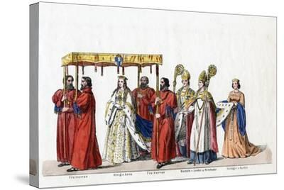 Costume Designs for Shakespeare's Play, Henry VIII, 19th Century--Stretched Canvas Print