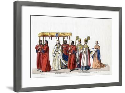 Costume Designs for Shakespeare's Play, Henry VIII, 19th Century--Framed Giclee Print