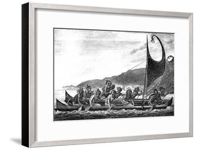 A Canoe of the Sandwich Islands, Late 18th Century-Page-Framed Giclee Print