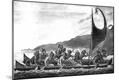 A Canoe of the Sandwich Islands, Late 18th Century-Page-Mounted Giclee Print