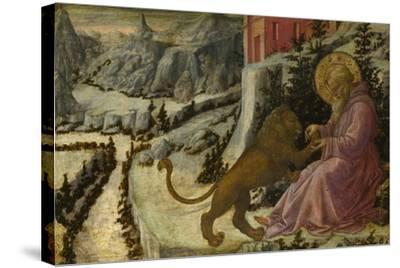 Saint Jerome and the Lion (Predella Panel of the Pistoia Santa Trinità Altarpiec), 1455-1460-Fra Filippo Lippi-Stretched Canvas Print
