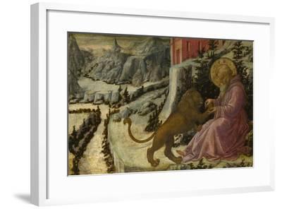 Saint Jerome and the Lion (Predella Panel of the Pistoia Santa Trinità Altarpiec), 1455-1460-Fra Filippo Lippi-Framed Giclee Print