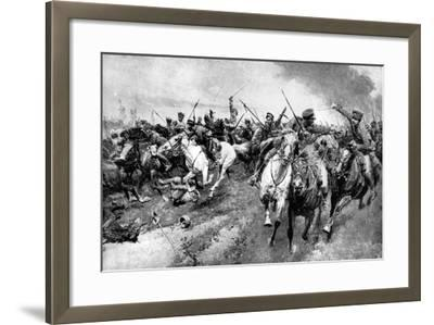 Russian Cossacks Attacking German Army, East Prussia, First World War, 1914--Framed Giclee Print