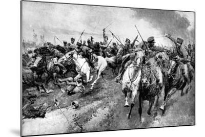 Russian Cossacks Attacking German Army, East Prussia, First World War, 1914--Mounted Giclee Print