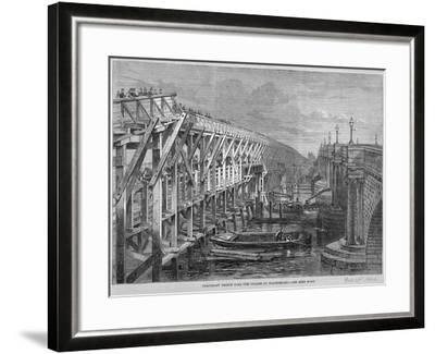 Temporary Wooden Bridge over the River Thames at Blackfriars, London, 1864--Framed Giclee Print