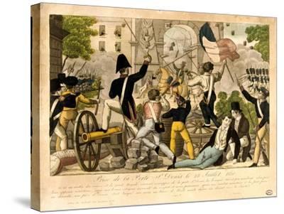 Prise De La Porte St Denis Le 28th Juillet 1830, Revolution of 1830, Paris--Stretched Canvas Print