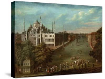 Procession of the Grand Vizier on the Hippodrome Square with the Sultan Ahmed Mosque, 1737-Jean-Baptiste Vanmour-Stretched Canvas Print
