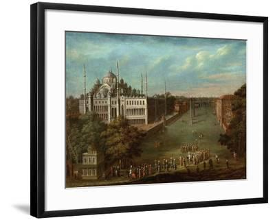Procession of the Grand Vizier on the Hippodrome Square with the Sultan Ahmed Mosque, 1737-Jean-Baptiste Vanmour-Framed Giclee Print