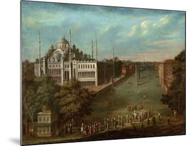 Procession of the Grand Vizier on the Hippodrome Square with the Sultan Ahmed Mosque, 1737-Jean-Baptiste Vanmour-Mounted Giclee Print