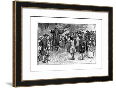 George Whitefield Preaching in the Open Air C1870--Framed Giclee Print