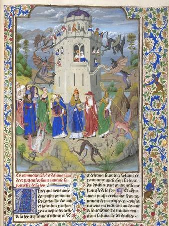 Fortress of Faith (Miniature of the Saints Gregory, Augustine, Jerome, and Ambrose Fighting Demon)-Loyset Li?det-Framed Giclee Print