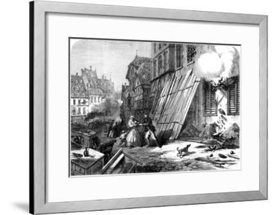 A Street in Strasbourg During the Siege and Bombardment, Franco-Prussian War, 1870--Framed Giclee Print