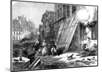 A Street in Strasbourg During the Siege and Bombardment, Franco-Prussian War, 1870--Mounted Giclee Print