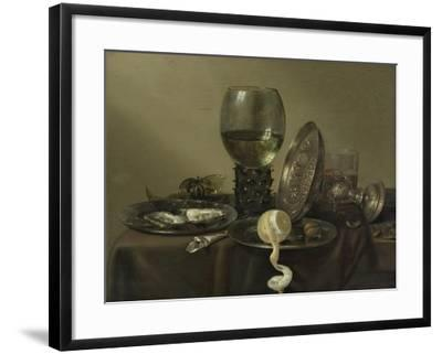 Still Life with Oysters, a Rummer, a Lemon and a Silver Bowl, 1634-Willem Claesz Heda-Framed Giclee Print