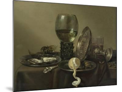 Still Life with Oysters, a Rummer, a Lemon and a Silver Bowl, 1634-Willem Claesz Heda-Mounted Giclee Print