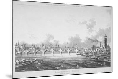 View of Blackfriars Bridge from the Strand Bridge, London, 1815-Thomas Hosmer Shepherd-Mounted Giclee Print