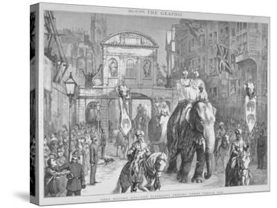 View of Temple Bar During the Lord Mayor's Day, City of London, 1876--Stretched Canvas Print