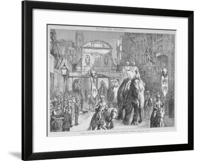 View of Temple Bar During the Lord Mayor's Day, City of London, 1876--Framed Giclee Print