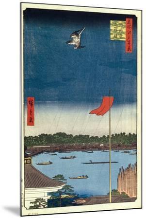 Komakata Hall and Azuma Bridge (One Hundred Famous Views of Ed), 1856-1858-Utagawa Hiroshige-Mounted Giclee Print