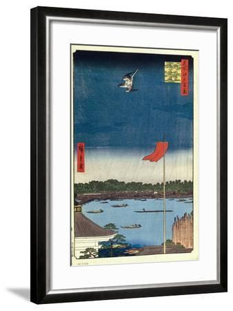 Komakata Hall and Azuma Bridge (One Hundred Famous Views of Ed), 1856-1858-Utagawa Hiroshige-Framed Giclee Print