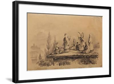 Georgian Women on the Roof (Lezghink), 1837-Mikhail Yuryevich Lermontov-Framed Giclee Print