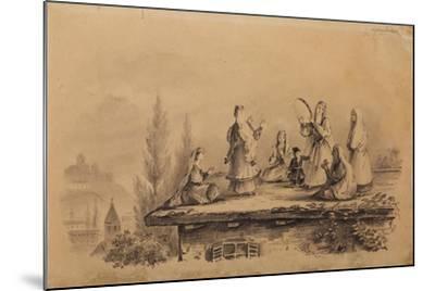 Georgian Women on the Roof (Lezghink), 1837-Mikhail Yuryevich Lermontov-Mounted Giclee Print