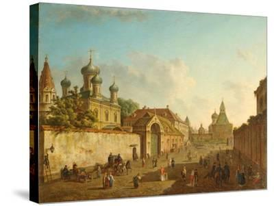 View from the Lubyanka Square to the Vladimir Gate in Moscow, 1800S-Fyodor Yakovlevich Alexeyev-Stretched Canvas Print