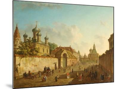 View from the Lubyanka Square to the Vladimir Gate in Moscow, 1800S-Fyodor Yakovlevich Alexeyev-Mounted Giclee Print