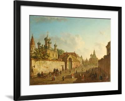 View from the Lubyanka Square to the Vladimir Gate in Moscow, 1800S-Fyodor Yakovlevich Alexeyev-Framed Giclee Print